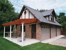 Custom Reverse Gable Garage with Gable Dormer Custom Garages, Dream Garage, Cabin, Sky, House Styles, Building, Home, Heaven, Cabins