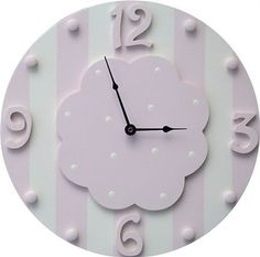 Pink and White Stripe Wall Clock