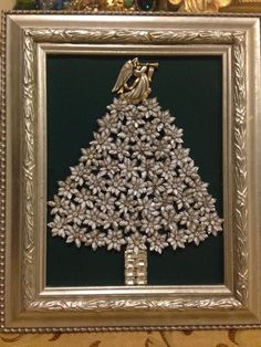 Large Vintage Jewelry Christmas Tree framed Size 12x10 Silver Floral Angel