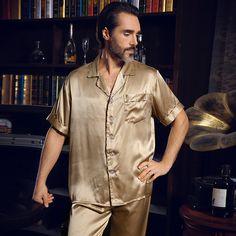 01280230db New Summer Men s Silk Pajama Short-Sleeve Men Silk Sleepwear Men Pyjamas  Sets Pants Pajamas 2 Piece Set Loungewear Clothes