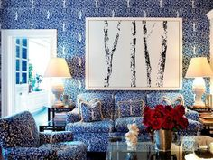 Steal This Decor Trick From Tory Burch: Match Your Wallpaper To Your Furniture