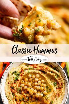 Classic Hummus - make smooth, creamy, authentic Middle Eastern hummus. Includes easy chickpea peeling technique.   ToriAvey.com #hummus #dip #tahini #garlic #lemon #oliveoil #evoo #easyrecipe #vegetarian #vegan #cleaneating #kosher #veganprotein #chickpeas #garbanzobeans #appetizer #snack #healthy #lightenup #glutenfree via @toriavey