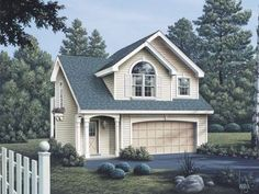 2 car garage with 628 sq ft 1 BR 1 bath apartment with fireplace.