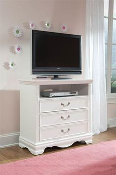 Jessica Cottage White Wood Entertainment Console