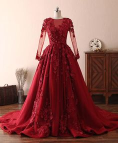 Elegant Scoop A-Line Red Lace Prom Dress Lace Appliques Crystals Beading Floral Prom Dresses Sheer Back Long Sleeve Evening Gowns Red Lace Prom Dress, Burgundy Evening Dress, Floral Prom Dresses, Sheer Dress, Cheap Prom Dresses, Wedding Dresses, Burgundy Dress, Tulle Lace, Dress Prom