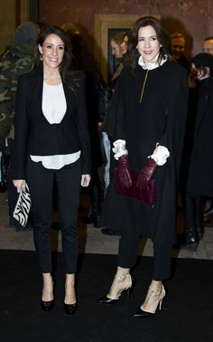 Princess Marie and Crown Princess Mary of Denmark attend the 10th anniversary show of the Danish fashion brand By Malene Birger in The Royal Theatre, Copenhagen on January 31, 2013
