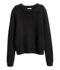 Black. Knit sweater in a cotton blend.