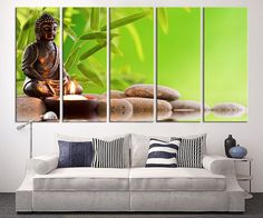 Buddha Statue Extra Large Wall Art Lotus Flower and Stones Canvas Print, Zen Yoga Relax Wall Art, Lotus and Buddha Statue Canvas Print
