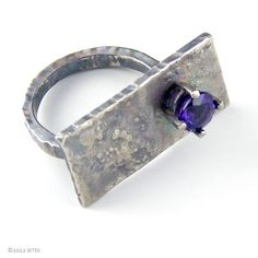 Offset Amethyst and Silver Ring