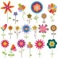 Retro flowers — Stockvectorbeeld #9135963