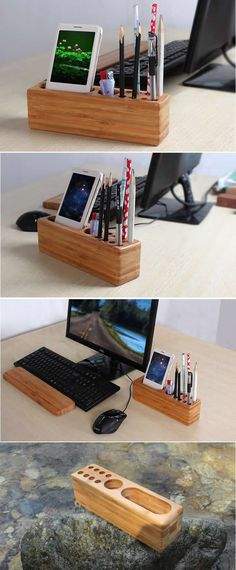 Wood Pen Pencil Holder Cell Phone Holder Stand Wooden Desk Organizer