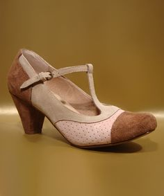 This Chelsea Crew Brown & Tan Malibu T-Strap Pump - Women by Chelsea Crew is perfect! #zulilyfinds
