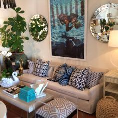 Slim Aaron's reproduction #print brilliantly frames this #sofa and #coffee #table vignette with blue accented #toss #pillows at #PalmBeach #Mecox #interiordesign #MecoxGardens #furniture #shopping #home #decor #design #room #designidea #vintage #antiques #garden