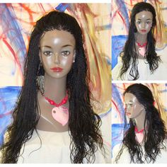 """free shipping  Fully Braided LACE FRONT WIG NWT Thin MICRO Braids Color 1 Jet Black Curly 26"""" $220.00"""