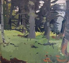 FAIRFIELD PORTER. Spruce & Birch  1964  oil on canvas  22 x 24 inches