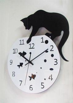 3D Home Decor Acrylic Wall Clock Cat and Fish Design Big Watch Quartz Cat Clock Living Room Decorative clocks