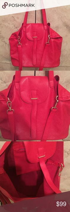 """🌹NEW W/OUT TAGS MILA ANTHONY RED BAG -2 BAG SET 🌹NEW WITHOUT TAGS MILA ANTHONY RED HANDBAG🌹SIZE APPROX. 16X16 MAKE OFFER 🌹INSIDE HAS ZIPPER AND IS SUEDE INSIDE OUTSIDE IS LEATHER🌹COMES WITH ADDITIONAL 13X10"""" BAG WITH ZIPPER - GREAT FOR TRAVELING.🌹 MILA ANTHONY Bags Shoulder Bags"""