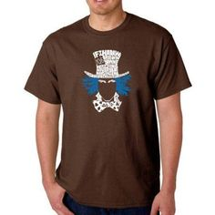 Los Angeles Pop Art Men's T-shirt - The Mad Hatter, Size: Medium, Brown