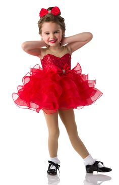 Lined Leotard With Attached Tutu: Red sequin spandex, nude holodot stretch mesh, and red organza ruffles with filament; Trim: Red satin bow with rhinestones; Jazz Costumes, Ballet Costumes, Satin Bows, Red Satin, Baby Ballerina, Dance Hairstyles, Dance Tights, Tiny Dancer, Dance Leotards