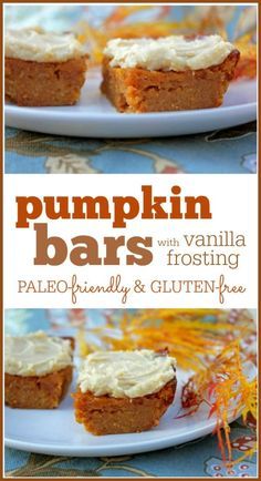 Pumpkin Bars with Vanilla Frosting: A delicious paleo-friendly and gluten-free recipe  TO MAKE IT VEGAN : use egg substitutes :)