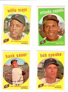 1959 Topps SF Giants lot of 13 with #50 Willie Mays and #390 Orlando Cepeda