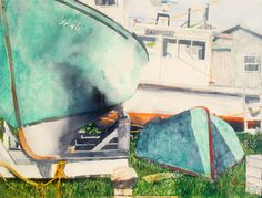 "boats voglers cove, n.s. 20"" x 26"" micheal zarowsky watercolour on arches paper / avaiable $ 1900.00"