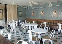 PaliHotel Melrose.  Neutrals & blue tile! lovely.