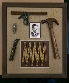 A striking collection of vintage carpentry tools from the with burlap backing in a rustic wooden shadowbox frame. The shadowbox honors a grandfather who was a carpenter by trade. A wonderful way to display and preserve cherished keepsakes. Shadow Box Memory, Shadow Box Frames, Memory Crafts, Keepsake Crafts, Keepsake Boxes, Carpentry Tools, Vintage Tools, Antique Tools, Vintage Crafts