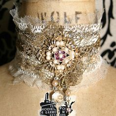 Marie Antoinette meets Victorian Damsel. This antique lace choker is one of my…