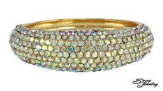 AB/Gold Pave Front Hinged Bangle.