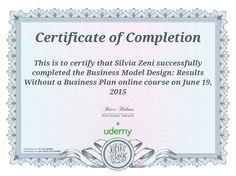 L'attestato di completamento del corso #businessmodelcanvas di Udemy  #businessmodel #canvas