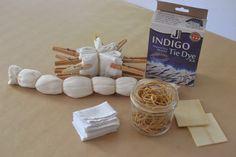 shibori indigo tie-dying (rubber bands & clothespins)