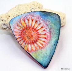 Polymer clay Handmade faux ceramic pendant, flower pendant, 48mm, focal pendant…