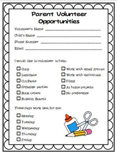 Parent Volunteer form will help parents get involved in everyday classroom activities. It will also give parents a way to decide and plan what they want to help with and when they can help! Parent Volunteer Form, Classroom Volunteer, Parent Forms, Parent Survey, Volunteer Gifts, Volunteer Appreciation, Back To School Night, First Day Of School, School Staff