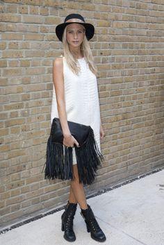 Poppy Delevigne #perfection love the fringe clutch & dress