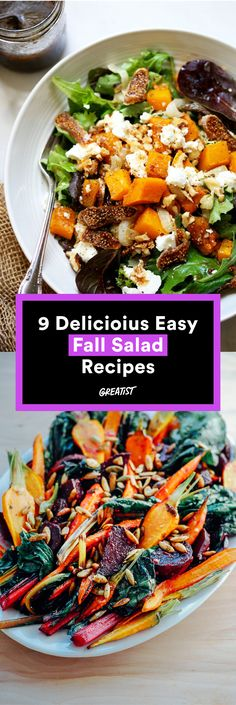 9 Healthy and Easy Salad Recipes That Taste Like Fall Jam the season's best flavors into one amazing bow… Carrot Salad Recipes, Cabbage Salad Recipes, Greek Salad Recipes, Healthy Pasta Recipes, Easy Salads, Healthy Salad Recipes, Easy Meals, Cooking Recipes, Meatless Recipes