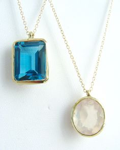 Blue Topaz ❁ Rose Quartz ❁ 14k Gold ❖ So many colorful ways to layer your necklaces! #LiliKlein #Jewelry