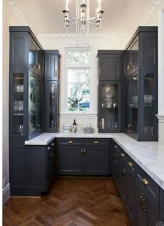 Slate/charcole blue kitchen cabinets...