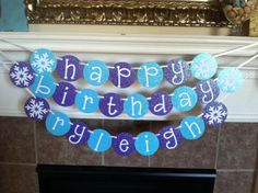 frozen inspired personalized happy birthday banner with glitter on Etsy, $24.00