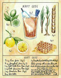 Botanical Navy Grog Classic Tiki Cocktail Print by ericoctober