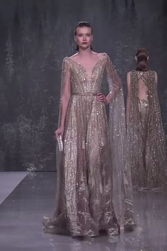 Ziad Nakad Look Fall Winter Haute Couture Collection Stunning Embroidered Desert Send A-Lane Evening Maxi Dress / Evening Gown with Deep V-Neck Cut, V-Back Cut, Long Sleeves and a Train. Fashion Runway by Ziad Nakad Gala Dresses, Couture Dresses, Evening Dresses, Fashion Dresses, Dress Outfits, Evening Gowns With Sleeves, Club Dresses, Elegant Dresses, Pretty Dresses