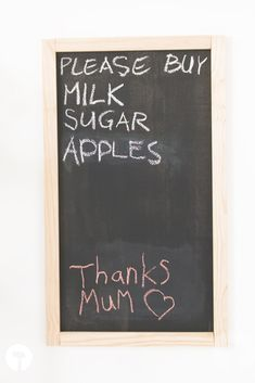 There's absolutely no reason to leave chalkboards in school. These are so useful for everyday life, especially in your family home. Learn how to install one at home. Buy Milk, Chalkboards, Home And Family, Learning, School, Diy, Bricolage, Chalk Board, Chalkboard
