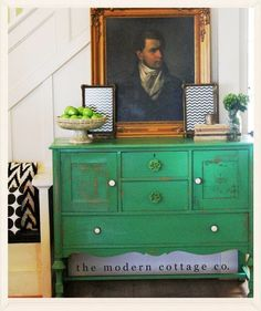 This green! From The Modern Cottage Company: Furniture Archives Chalk Paint Furniture, Diy Furniture Projects, Furniture Decor, Diy Möbelprojekte, Dyi, Green Dresser, Decoupage, Entry Tables, Antique Furniture