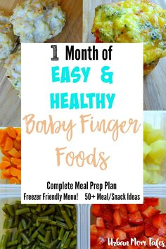 Easy and healthy baby finger food recipes! One Month meal prep plan that will leave you prepared with 50+ freezer friendly meal and snack ideas. Also great for one year olds and toddler meal ideas!