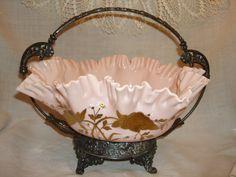 VICTORIAN BRIDAL BASKET, Homan Quadruple Plate Basket frame, Pale pink glass bowl, bridal gift, Mothers Day, vintage bridal accessories