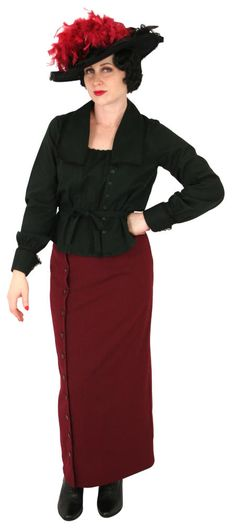 Historical Emporium, Church Dresses, Period Outfit, Long Ties, Black Blouse, High Waisted Skirt, Feminine, Lady, Long Sleeve