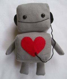 Plush robots are all the rage. Shuusei's Large Plush Robot Toy with Headphones (that's his name) measures 14 tall. The plush is made of soft brushed wool felt,. Softies, Plushies, Felt Crafts, Fabric Crafts, Couture Bb, Cute Plush, Creation Couture, Baby Boy Gifts, Plush Animals