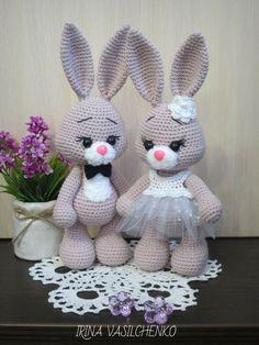Crochet Animal Patterns, Stuffed Animal Patterns, Crochet Patterns Amigurumi, Amigurumi Doll, Crochet Dolls, Stuffed Animals, Bunny Crochet, Crochet Mignon, Easter Crochet