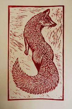 Red Fox - linocut - Jo Walton, U.K.