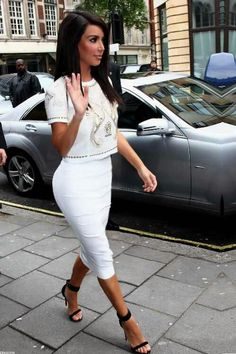 Long white pencil skirt  White and gold beaded crop top